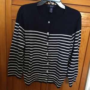 CHAPS Navy Blue and White Sweater Size Large